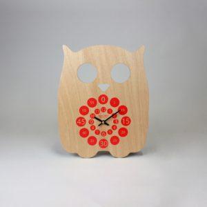 Horloge murale – Hiboo rouge