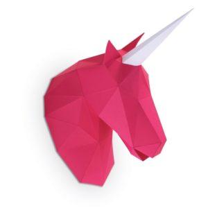 Petite licorne en papier 3d – Rose