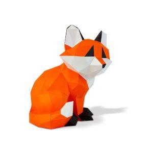 Petit renard assis en papier 3D – Orange