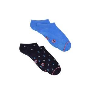 Duo de socquettes – Bleu et motif